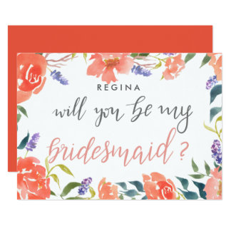 Will You Be My Bridesmaid Script Bright Florals Card