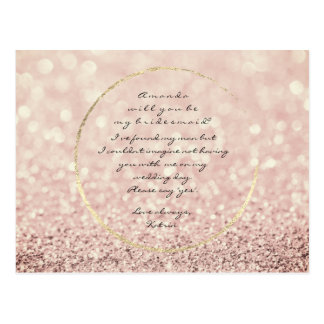 Will You Be My Bridesmaid Sepia Rose Gold Glitter Postcard