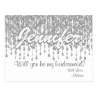 Will You Be My Bridesmaid | Silver glitter Look Postcard