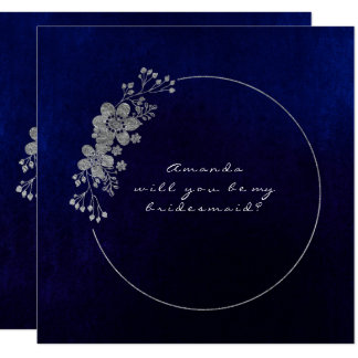 Will You Be My Bridesmaid Silver Navy Velvet Card