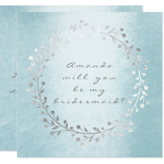 Will You Be My Bridesmaid Silver Wreath Celestial Card