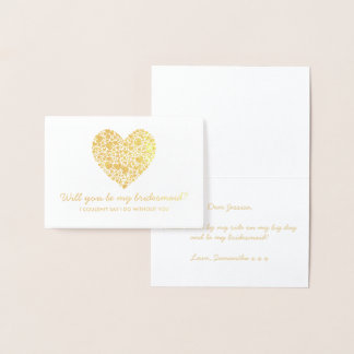 Will You Be My Bridesmaid? Trendy Heart Foil Card
