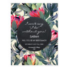 will you be my bridesmaid tropical floral postcard