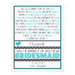 Will you be my Bridesmaid? Turquoise/Black Poem Personalised Invitation