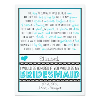 Will you be my Bridesmaid? Turquoise/Black Poem V2 11 Cm X 14 Cm Invitation Card