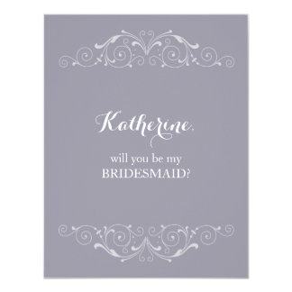 Will you Be my Bridesmaid Victorian Swirls Card