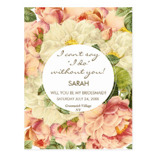 will you be my bridesmaid vintage floral postcard