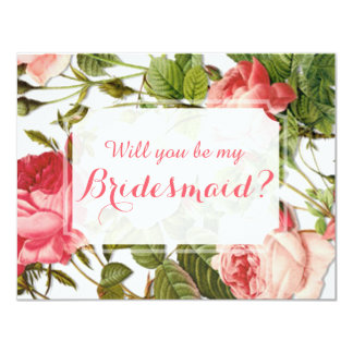Will You Be My Bridesmaid? Vintage Floral Romance 11 Cm X 14 Cm Invitation Card