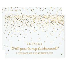 Will You Be My Bridesmaid? Vintage Gold Confetti 13 Cm X 18 Cm Invitation Card at Zazzle