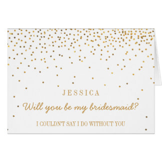 Will You Be My Bridesmaid? Vintage Gold Confetti Greeting Card