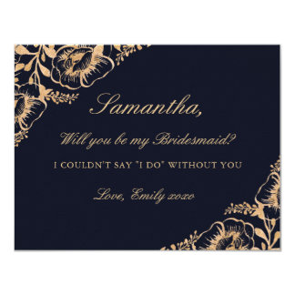 Will You Be My Bridesmaid Vintage Gold Navy Floral Card