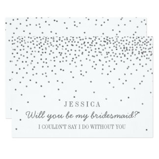 Will You Be My Bridesmaid? Vintage Silver Confetti 13 Cm X 18 Cm Invitation Card