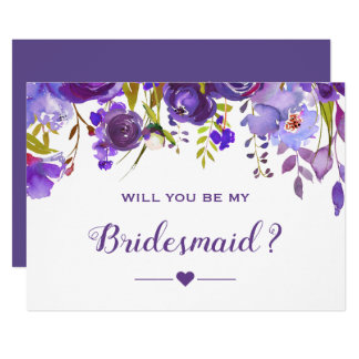 Will You Be My Bridesmaid Violet Purple Floral Card