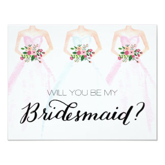 Will You Be My Bridesmaid Watercolor Dress Bouquet Card