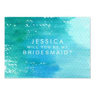 Will You Be My Bridesmaid Watercolor Wash 13 Cm X 18 Cm Invitation Card