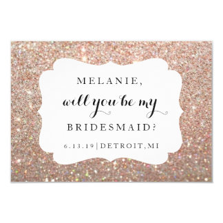Will You Be My Bridesmaid-Wedding Day Rose Glitter Card