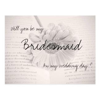 Will you be my bridesmaid wedding postcard