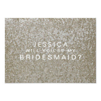 Will You Be My Bridesmaid White Gold Sequins Card 13 Cm X 18 Cm Invitation Card