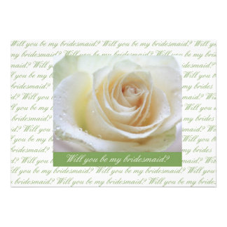 will you be my bridesmaid white rose green letter invite