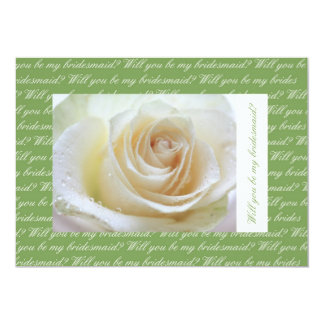 """will you be my bridesmaid  white rose green white 5"""" x 7"""" invitation card"""