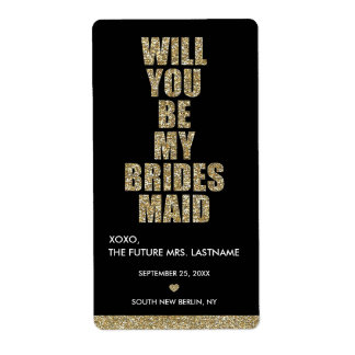 Will You Be My Bridesmaid? WINE LABEL Shipping Label