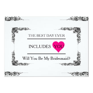 Will You Be My Bridesmaid with Pink Heart 13 Cm X 18 Cm Invitation Card