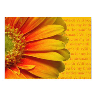 "will you be my bridesmaid yellow orange gerbera 5"" x 7"" invitation card"