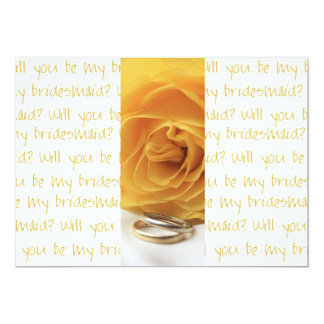 will you be my bridesmaid yellow rose on letter ba announcement
