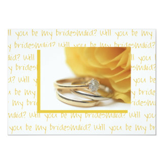 will you be my bridesmaid yellow rose on letter announcement