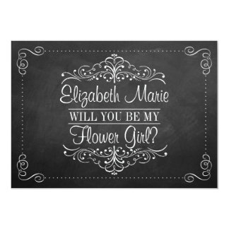 Will You Be My Flower Gir? Ornate Chalkboard Cards 13 Cm X 18 Cm Invitation Card