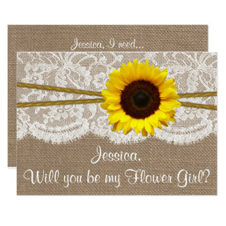 Will You Be My Flower Gir? Sunflower Rustic Burlap Card