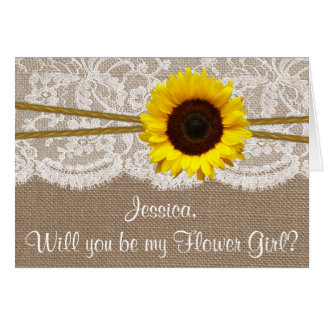 Will You Be My Flower Gir? Sunflower Rustic Burlap Greeting Card