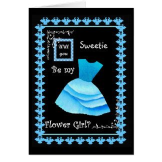 Will You Be My Flower Girl? BLUE Dress Card