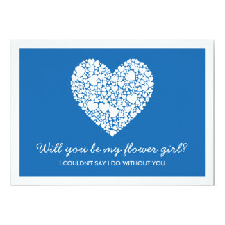 Will You Be My Flower Girl? Blue Heart Card