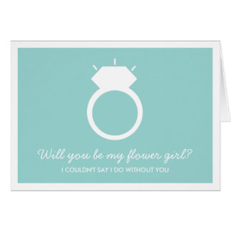 Will You Be My Flower Girl? Blue Ring Card