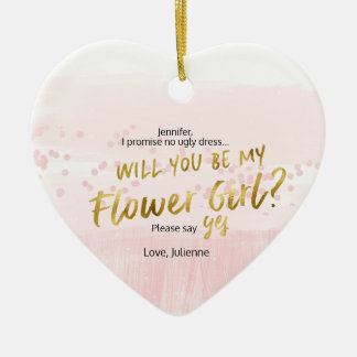 Will you be my Flower Girl Blush Watercolor Christmas Ornament