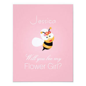 Will You Be My Flower Girl Bridesmaid Funny Cute Invitation