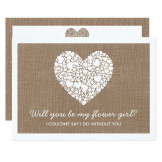 Will You Be My Flower Girl? Burlap Heart Card