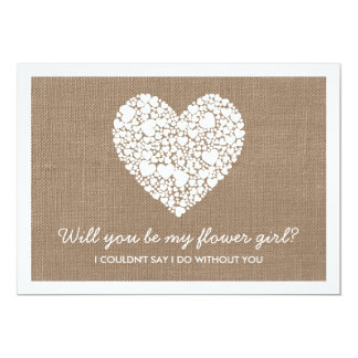Will You Be My Flower Girl? Burlap Heart Card 13 Cm X 18 Cm Invitation Card