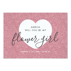 Will You Be My Flower Girl Card - Glittered