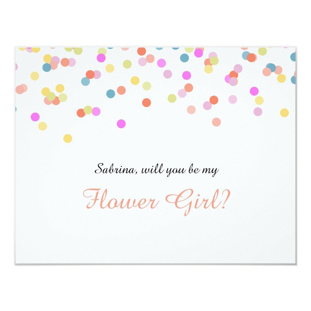 Will you Be my Flower Girl Festive Confetti Card