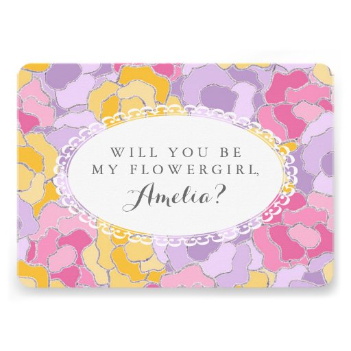 """Will You Be My Flower Girl?"" Floral Invitation"