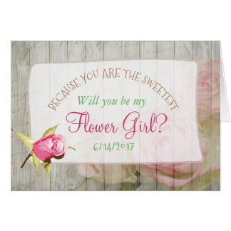Will you be my Flower Girl Floral Rustic Wood Card