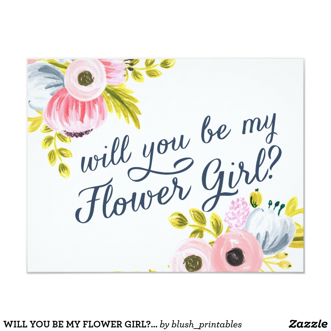 WILL YOU BE MY FLOWER GIRL? hand painted card