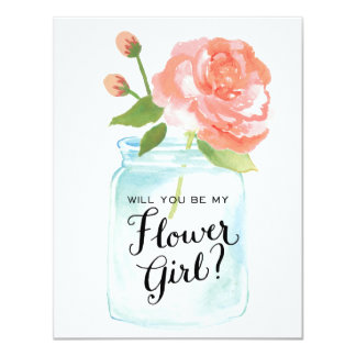Will You Be My Flower Girl Mason Jar 11 Cm X 14 Cm Invitation Card