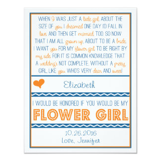 Will you be my Flower Girl? Navy Blue/Orange Poem 11 Cm X 14 Cm Invitation Card