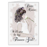 Will you be my Flower Girl-Niece?-Little Girl Art Greeting Card