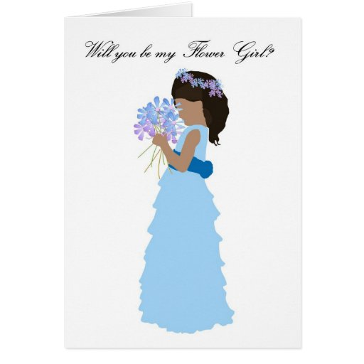 Will you be my Flower Girl Pink and Blue Card