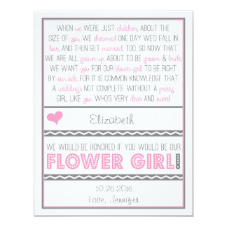Will you be my Flower girl? Pink/Gray Poem Card 11 Cm X 14 Cm Invitation Card