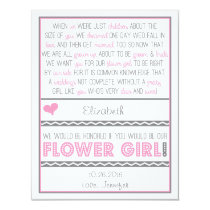 Will you be my Flower girl? Pink/Grey Poem Card 11 Cm X 14 Cm Invitation Card